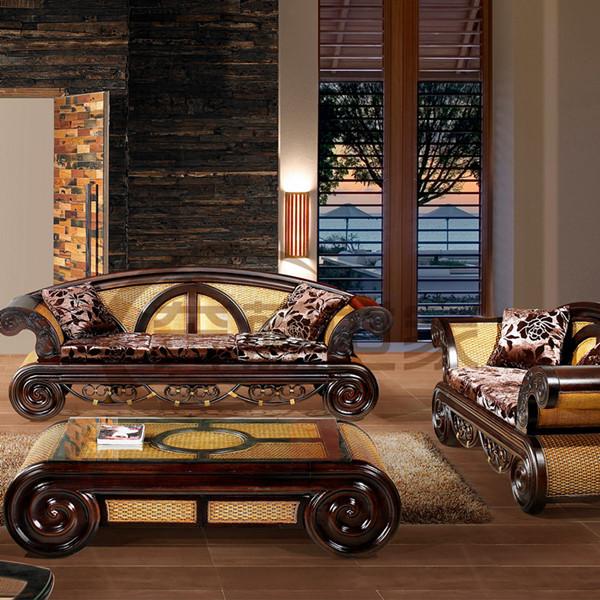 欧式高档客厅藤木沙发