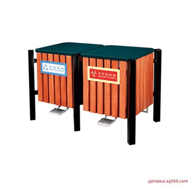 p-b103脚踏式钢木分类垃圾桶