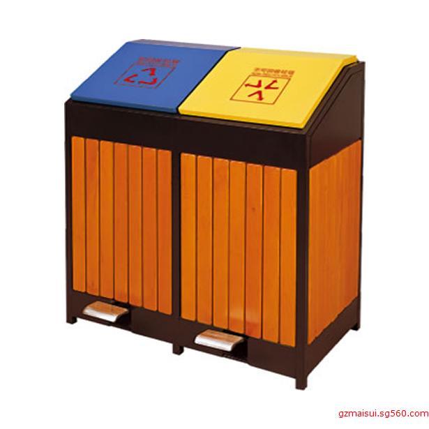p-b104脚踏式钢木分类垃圾桶