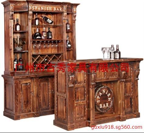 仿古实木酒吧屋 仿古酒吧屋 实木酒吧台 仿古实木吧台