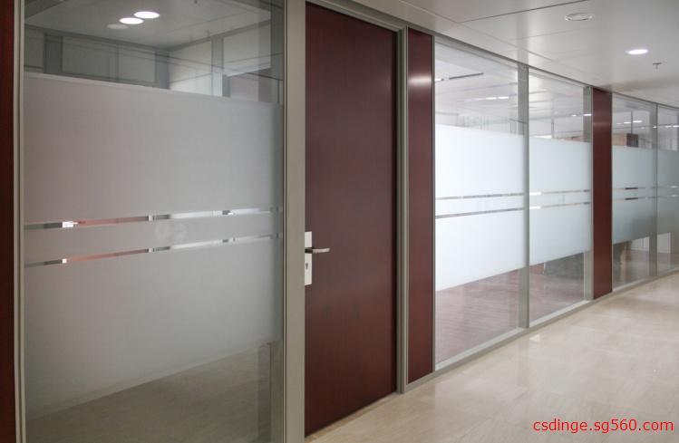 供应写字楼办公室铝合金磨砂玻璃隔断墙