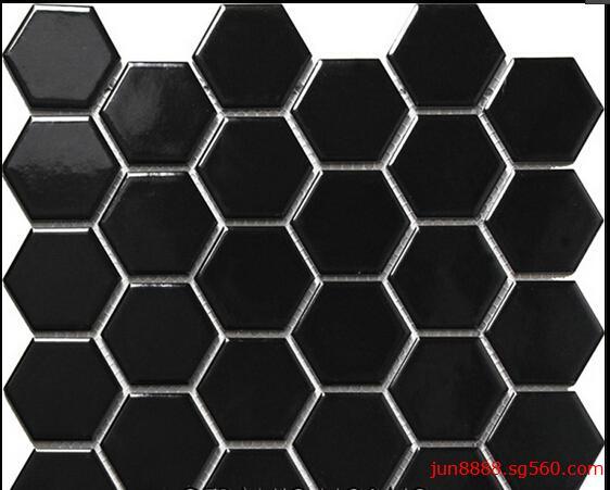 黑色六边形陶瓷马赛克 大量批发