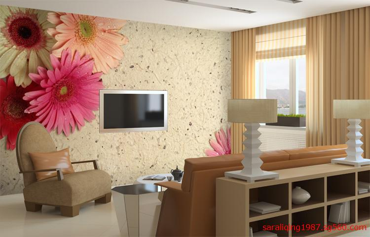 定制韩式花纹壁画 电视机壁画爆款 沙滩太阳花 无缝壁画 背景墙壁画图片