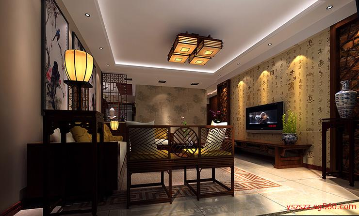 卢浮宫馆新中式三室两厅装修案例效果图