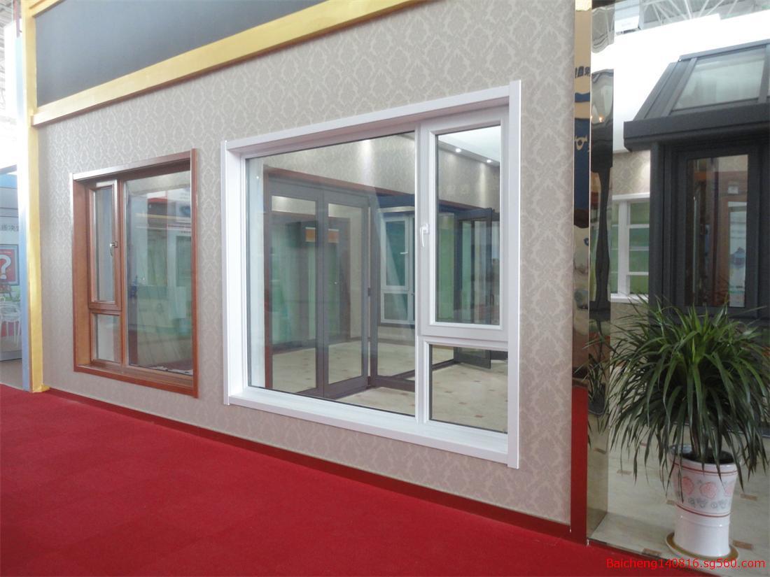百成铝合金系统窗 铝合金门窗 百成铝合金系统窗 百成55、60、65、70系列铝合金系统门窗是将铝合金型材与隔热条通过滚压结合在一起,具有尺寸稳定、抗老化、耐冲击、气密、水密性优良等特点,型材颜色亮丽,并有多种选择,可根据建筑的设计风格型材颜色,同时,铝合金系统窗较其它塑窗、木窗相比强度较高适合高层建筑选用。