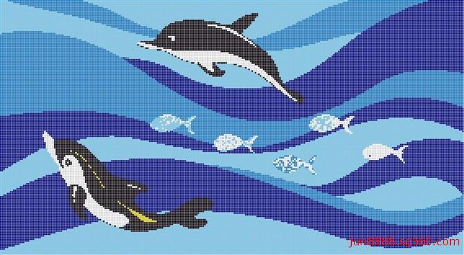 游泳池海豚拼图 泳池工程陶瓷马赛克 厂家批发