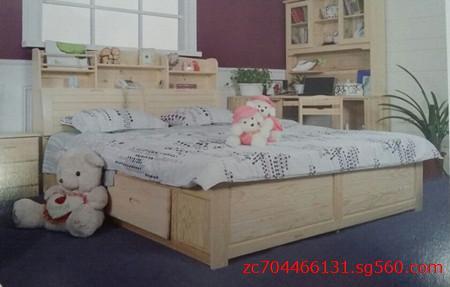 苏州松木家具定制书架实木床价格