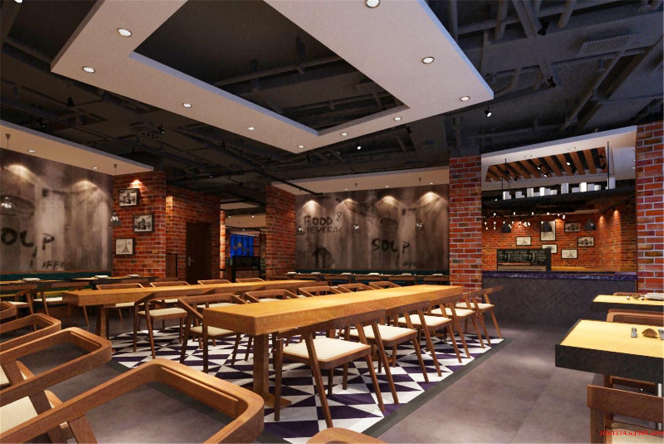武汉快餐厅室内装修设计 美食城室内装修设计 餐饮店面装修设计