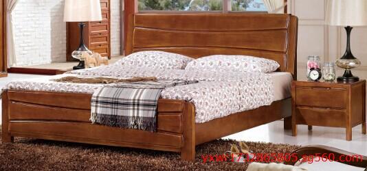 新款黄金胡桃橡木材质201实木大床实木套房家具系列