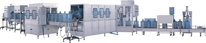 专业生产桶装水灌装机 大桶水灌装机 5加仑灌装机 QGF-300 型桶装机是 5 加仑桶装水生产的主机设备。有机架、水箱、管道、 水泵、气缸、传动、电器等组成,完成空桶冲洗,灌装、压盖等动作,通过多道冲洗工 序,定量灌装,自动带盖压盖,整机所有动作均有电脑控制,实现稳定的冲洗效果,精 确的灌装容量,密封的压盖效果。 空桶由手工放入托桶架,空桶随链条运动一个工位,成倒立状对桶口桶身进行 冲洗。冲洗过程共二排八道工序,第一道第二道消毒液,第三、四回用水冲洗,第五 第六纯净水,第七道滴干第八道下桶。 (也可以根