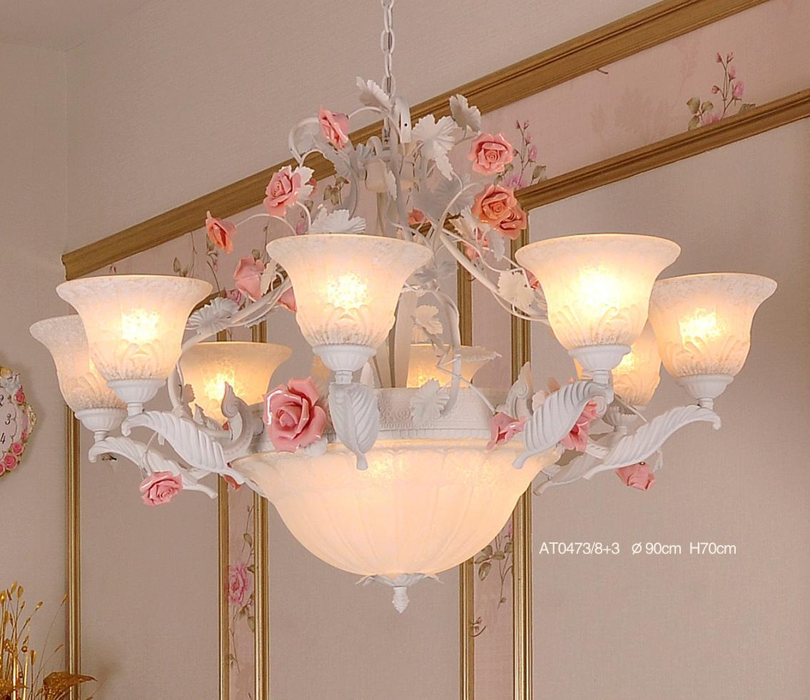 铁艺陶瓷款欧式田园客厅吊灯
