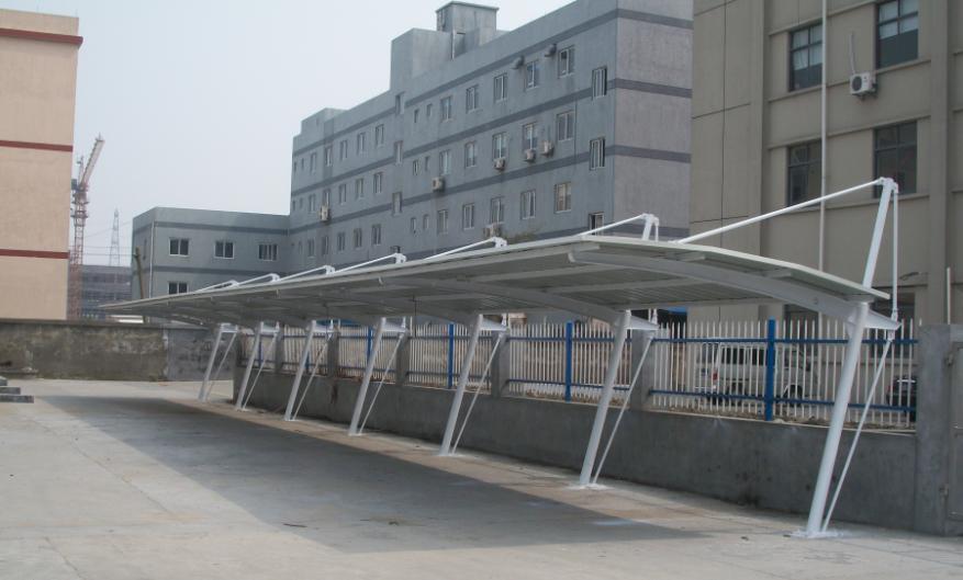 中山耐力板钢结构车棚,帆布式小车车棚,膜结构车棚