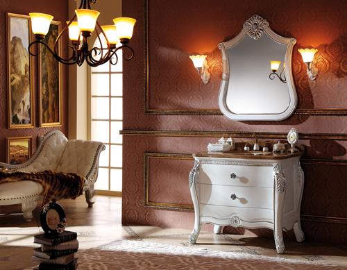 厂家直销白色欧式实木浴室柜q216